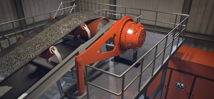 Apron feeder with a Hägglunds direct drive system